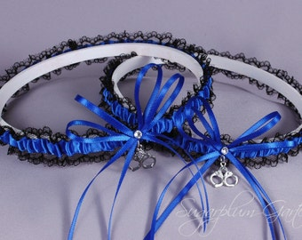 Thin Blue Line Police Officer Lace Wedding Garter Set in Royal Blue and Black Lace with Swarovski Crystals and Handcuff Charms