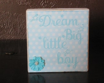 Baby Boy Wood Block Dream Little Boy Nursery Decor Family