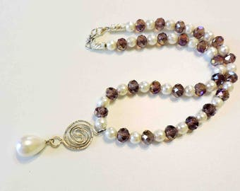 Oyster Shell Teardrop Pearl and Faceted Glass Necklace With Sterling Silver