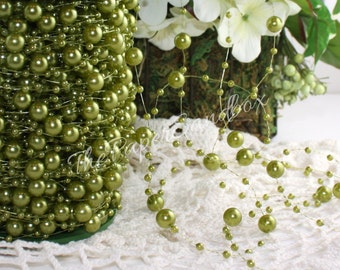 Olive Green Pearl Garland, by the yard, Green String Beads, Olive Green Beads, Green Pearl Beads, Wedding, Gift Wrapping, Party Supplies