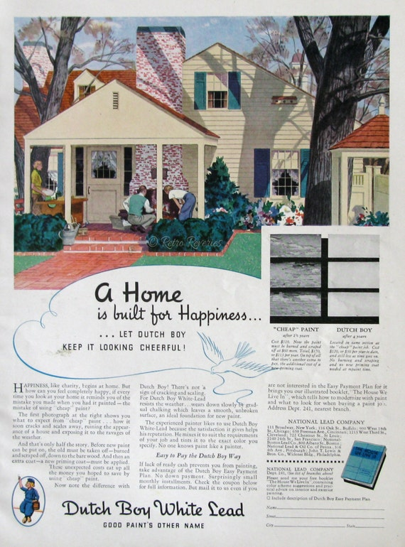 1936 Dutch Boy White Lead Paint Ad 1930s House Exterior
