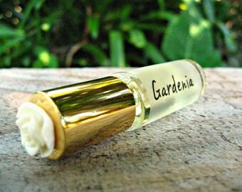 GARDENIA MINI PERFUME. Custom-Blended Roll-on Perfume. Made in Hawaii. 1/6 fl oz (5 ml).