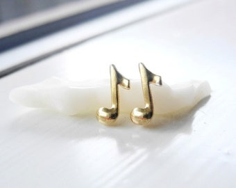 Music Earrings, Tiny Stud Earrings, Musical Jewelry, Musical Notes, Music Gift, Unisex Earrings, Sterling Silver Hypoallergenic  (E254)