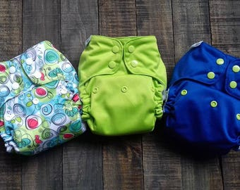 Pocket diaper with 2 Microfiber Inserts totaling 7 Layers, with Stay Dry Microfleece Liner