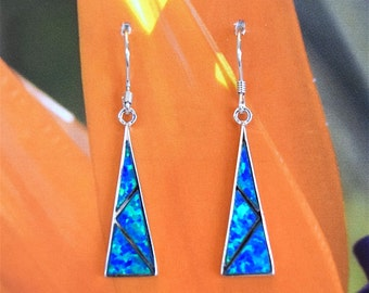 Opal Earring, Hawaii Jewelry, Sterling Silver Blue Opal Inlay Dangle Earring, Hawaiian Jewelry, E4182
