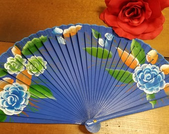 Blue Polka Dotted Hand Painted Wooden Fan in Blue