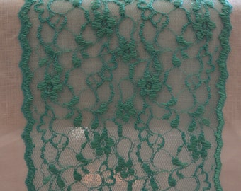 """Turquoise Lace Table runner 6"""" wide 3FT -12 FT length/Ends cut not hemmed/Turquoise wedding/Free Sample Swatch/Green Turquoise/Shiny lace /"""