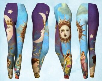Tarot Leggings, Leggings, Yoga pants, Celestial clothing, Moon Stars, Moon Sun, boho leggings, gypsy clothing, boho clothing, unusual gift