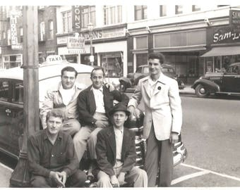 """Vintage Snapshot """"Taxi Driver"""" Taxi Cab Guys Liquor Store Old Cars Paint Store Found Vernacular Photo"""