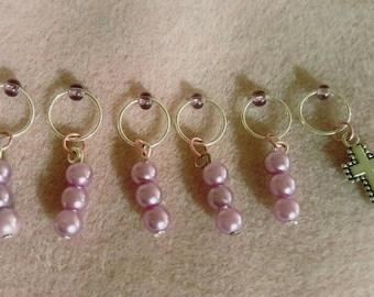 6 PC/0-10MM,Knitting Markers,Stitch Markers,SnagFree,Nickel Free,Cross,Knitting Notion,Knitter,Snag Free Marker,Mixed Glass,Knitting gift