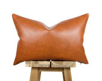 Faux Leather Pillow Cover | Lumbar | Bourbon | 'Naima'