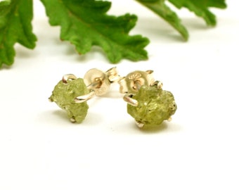 Raw peridot earrings studs, sterling silver peridot rough stone studs, uncut green stone earrings, green gemstone stud, peridot jewelry Sale