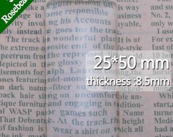 20PCS 25x50mm Rectangle Flat Back clear Crystal glass Cabochon,Top quality C3517