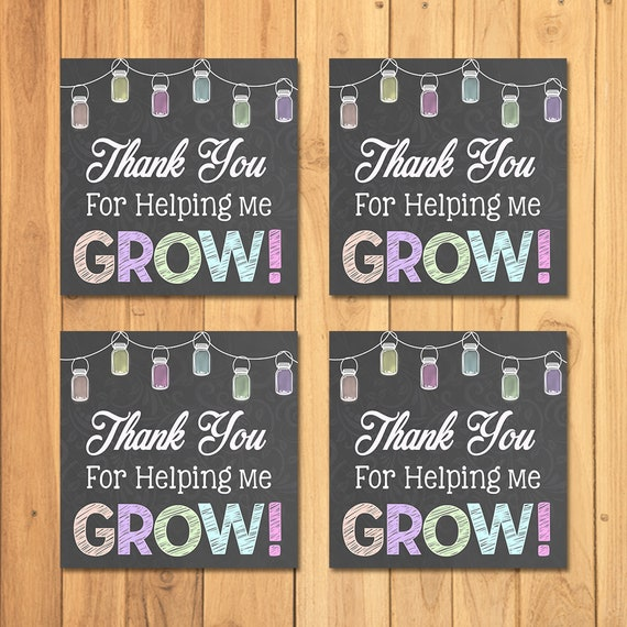 Teacher Appreciation Week Tags Thank You For Helping Me Grow - Teacher Gift Tag - Chalkboard Mason Jar Thank You Tags - Teacher Thank You