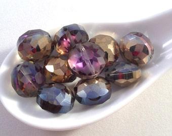 PURPLE and GOLD ETCHED Glass Beads -Romance -Aurora Borealis Beads -Purple & Gold-Mystical-Kaleidoscope of Colors-10 Beads-Mardi Gras Beads