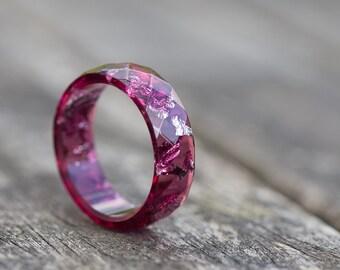 Deep Purple Resin Ring Men Ring Silver Flakes Big size 10 size 12 Faceted Ring OOAK dark burgundy acai geometric jewelry