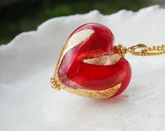 Murano Valentine Day Glass Heart Necklace