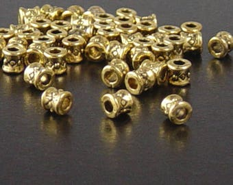 Bead Spacer 300 Antique Gold Barrels Tube Hourglass 3.8mm NF (1061spa03d1)