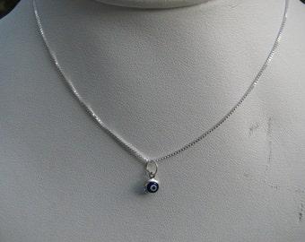 Mini Evil Eye Necklace Dark Blue Smallest Bead