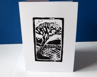 "handprinted linoblock print card ""Leaning Tree near Killoch"""