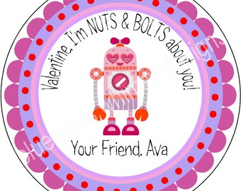 """2.5"""" Round Sticker for Treat Bag- Valentine, Girl, Nuts & Bolts"""