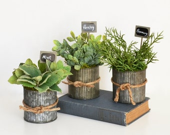 Three Pots  of Faux Herbs in Galvanized Pots; Herbs with Garden Signs;  Kitchen Decor; Parsley, Sage, Rosemary, Thyme, Mint, and Oregano