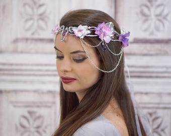Elven Crown, Circlet, Silver and Purple, Flower Crown, Fairy Headpiece, Floral Wreath, Cosplay Headpiece, Fantasy Headdress, Mori Kei, Boho