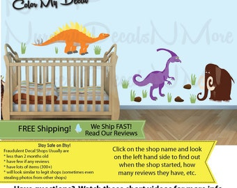 Dinosaur Stickers, Dino Wall Decals, Dinosaur Decals, FULL Mammoth Colorful (FULL_Stego52n55_Mm81_D3_33) DINO MML