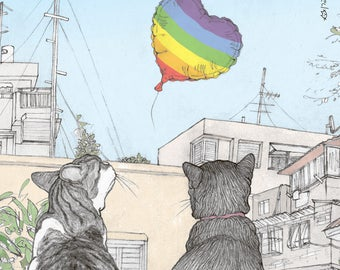 Pride magnet  -  featuring Rafi and Spageti, the famous Israeli cats from Ha'aretz Newspaper Comics
