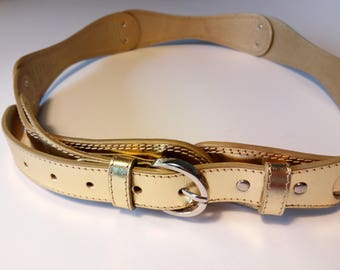Gold vintage original design wrist belt with silver buckle