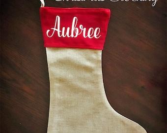 Personalized Burlap Christmas Stockings
