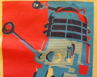 Fabric coupon Dalek dr Who, exterminate!