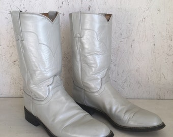 Vintage Pearlized Light Gray Tony Lama Roper Boots Size 6 1/2 B