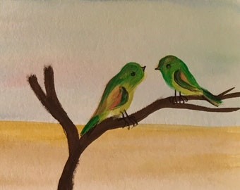 Aceo original water color painting two birds ready to ship gift ooak art
