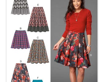 Misses' Pleated School Girl Skirt Sewing Pattern, Sizes: 14 -16 -18 -20 -22  McCall's M7253  Sewing Pattern, 6 Easy Skirt Designs UNCUT