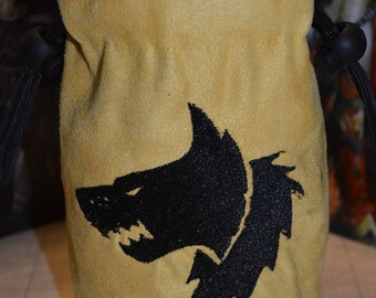 Dice Bag Warhammer 40K Space Wolves Embroidered Suede
