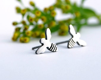 Bee studs sterling silver woodland posts earrings bumble bee
