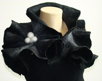 Felted Wool Scarf-Neckpiece-Collar. Black Gray & White shibori scarf.  Wrap scarf For her.