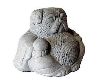 Zen Mini PUG Buddha Bonsai Terrarium Sculpture // Pug Lover Gift
