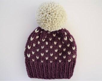 Fair Isle Hat Pattern // Hat Knitting Pattern // Little Hearts Pattern // Toddler Hat Pattern // Hat Patterns