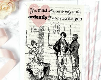 Pride And Prejudice Literary Card - Original Illustration And Quote 'You must allow me to tell you...' - Literary Gift