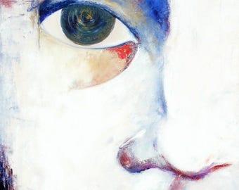 Original italienische Kunstdruck Frau-Mutter Seele Antlitz weiß blau rot