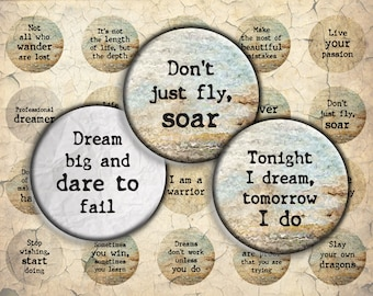 Motivational Quotes - 30mm, 25mm (1 inch) & 20mm circles - Digital Collage Sheet for Bezel Cabochon Pendants, Crafts
