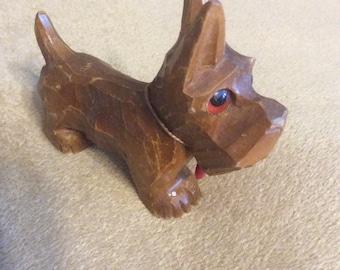 1940s Carved Wooden Dog Glass Eyes Scotty Scottish Terrier Heart collar