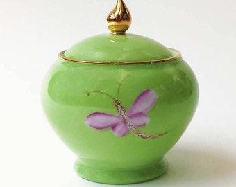 Green Limoges porcelain sugar bowl