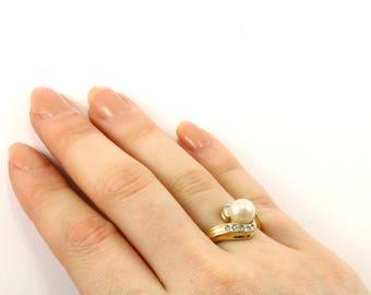 Perle d'or CZ Vintage tonique anneau torsadé en argent 925 Sterling Silver RG 766-E