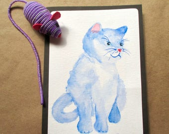Original Watercolor cat-kitten-pet Blank Note Card