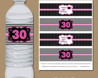 Water Bottle Labels - Pink Black 30th Birthday Drink Labels - 30th Bday Water Bottle Wraps - Birthday Party Printables, Birthday Party Decor