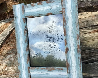 11x14 Antiqued Mirror with Distressed Wood Rustic Frame