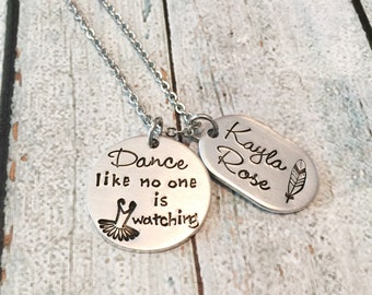 Childrens necklace - Dance necklace - Dance recital gift - Gift for young girl - Hand stamped necklace - Dance like no one is watching